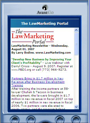 LawMarketing Portal on AvantGo.com