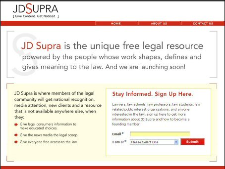 JD Supra User Generated Website for Lawyers