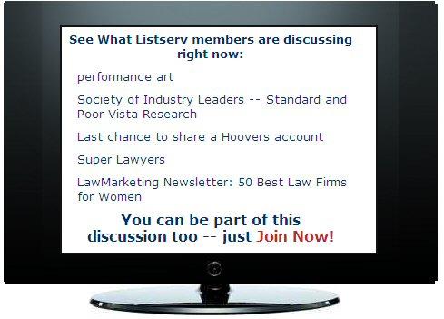 Lawmarketing listserv, law firm marketing