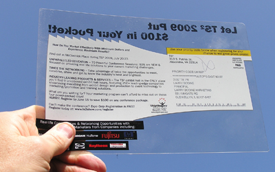 plastic see through direct mail postcard