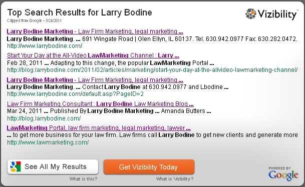 vizibility searchme, larry bodine, lawmarketing blog